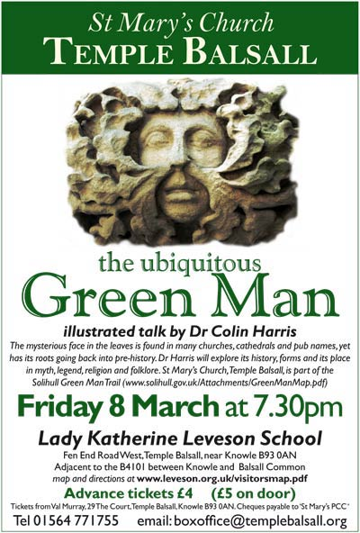 Poster for Green Man Talk 8 March 2013