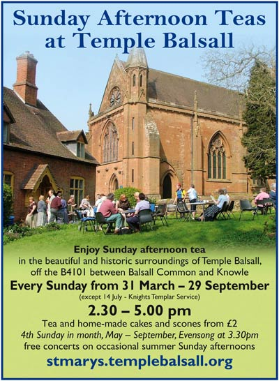 Poster for Sunday Teas at Temple Balsall